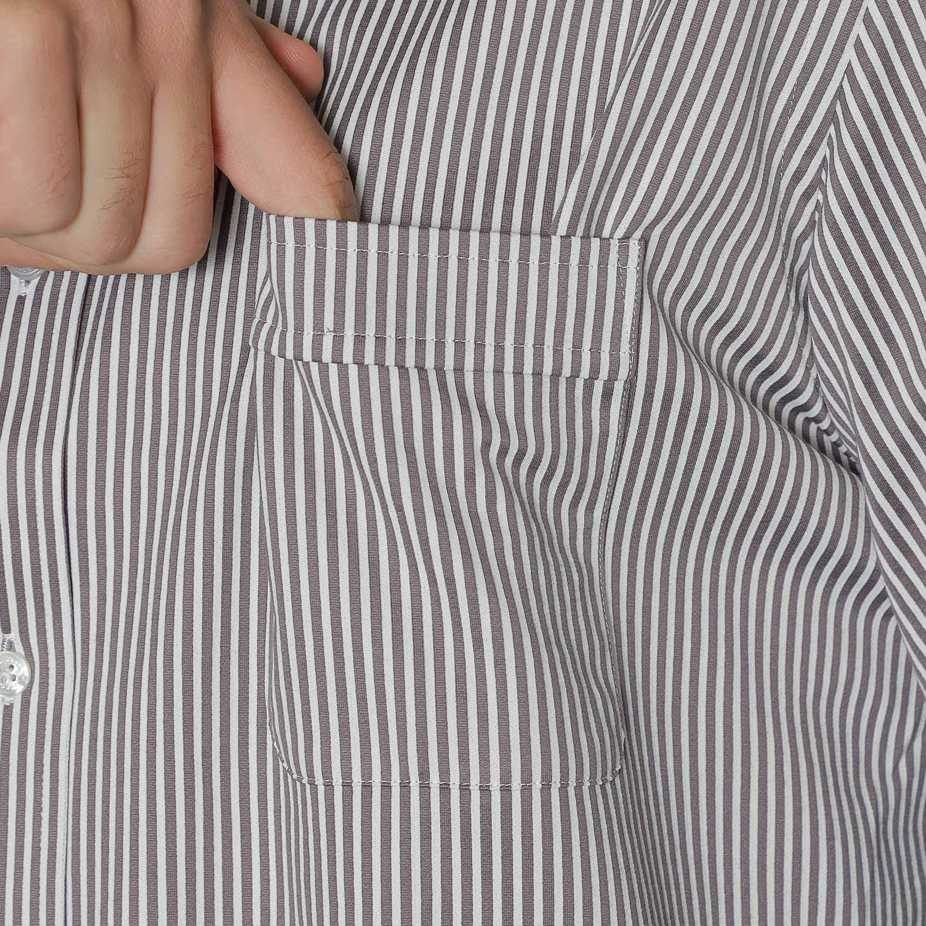 【ALBINI】ジャージストライプドレスシャツ