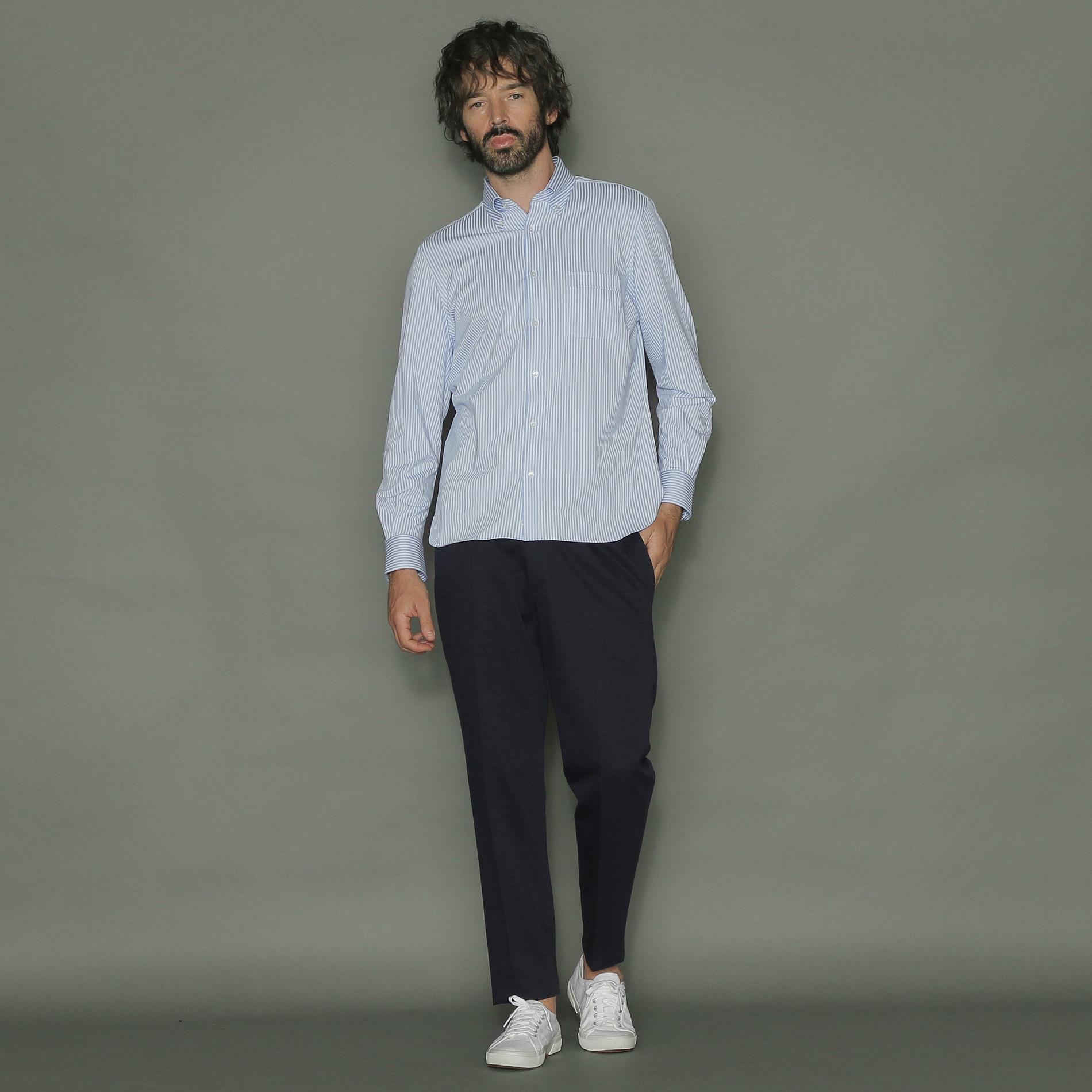 【FLEX JERSEY】ロンドンストライプジャージシャツ