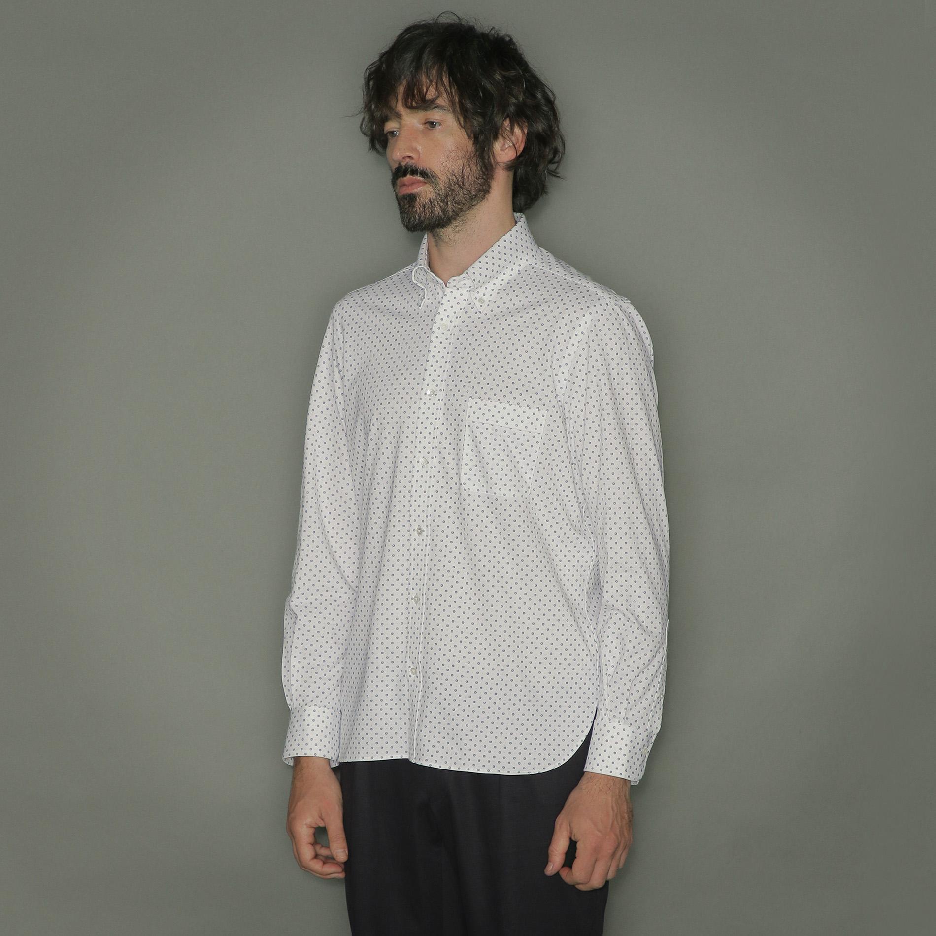 【FLEX JERSEY】小紋プリントジャージシャツ