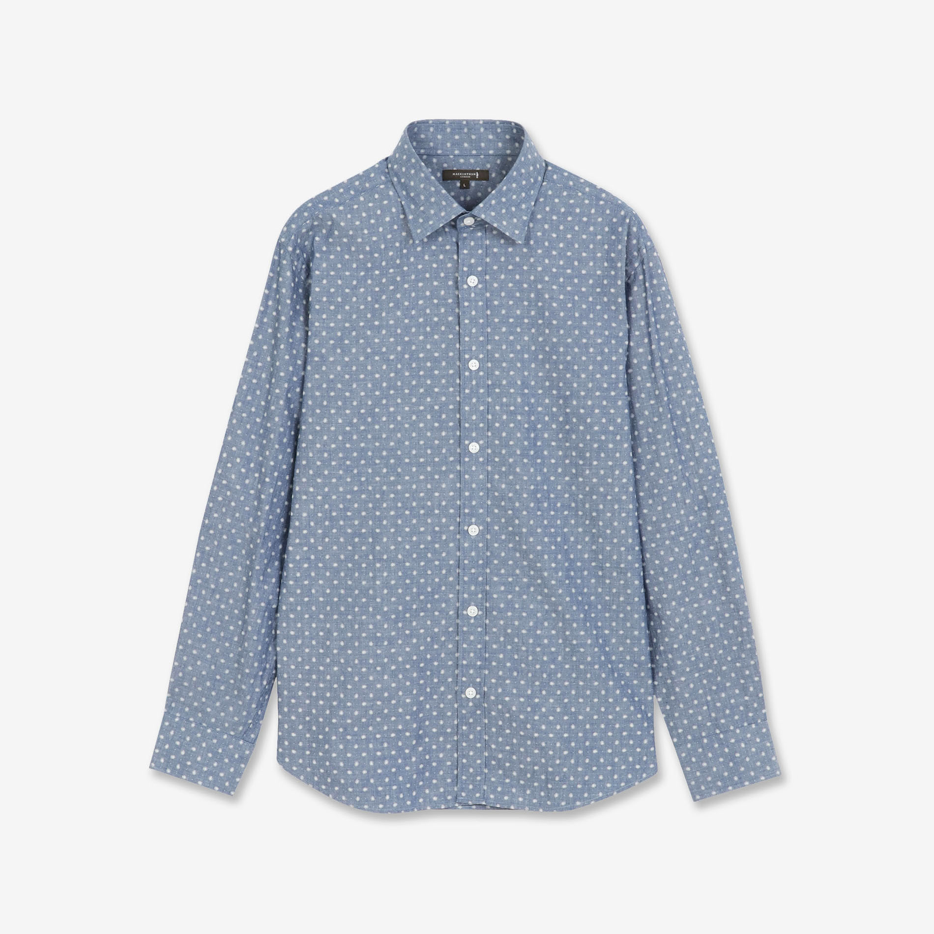 ★★デニム小紋プリントシャツ