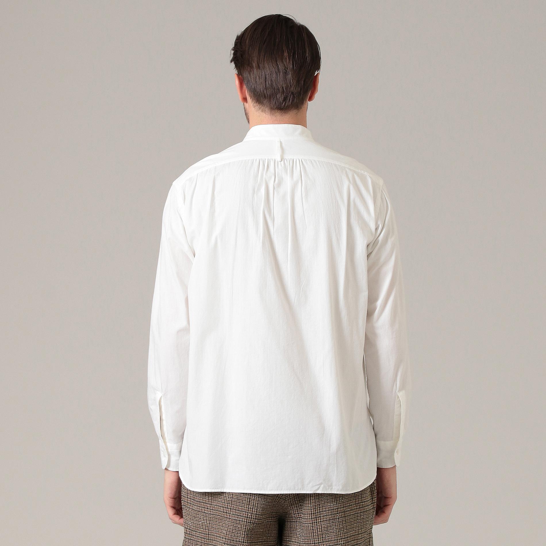 シャンブレーバンドカラーシャツ