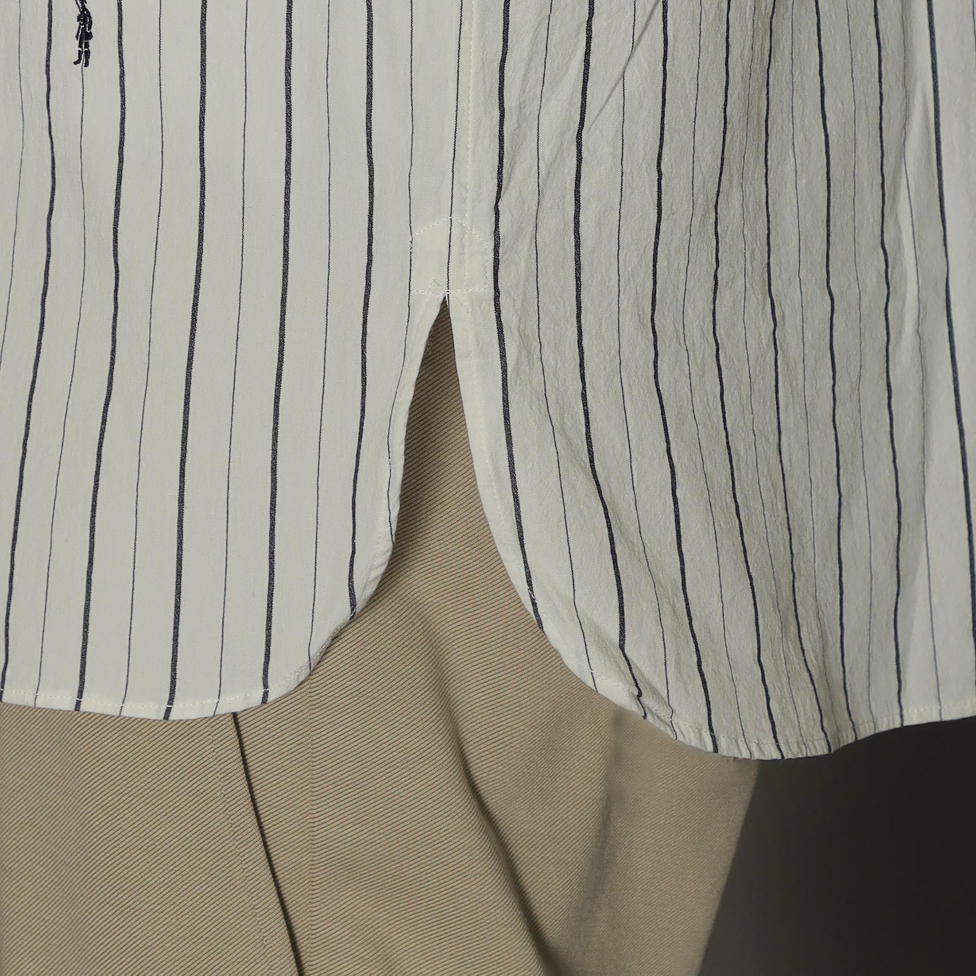 オルタネイトストライプバンドカラーシャツ