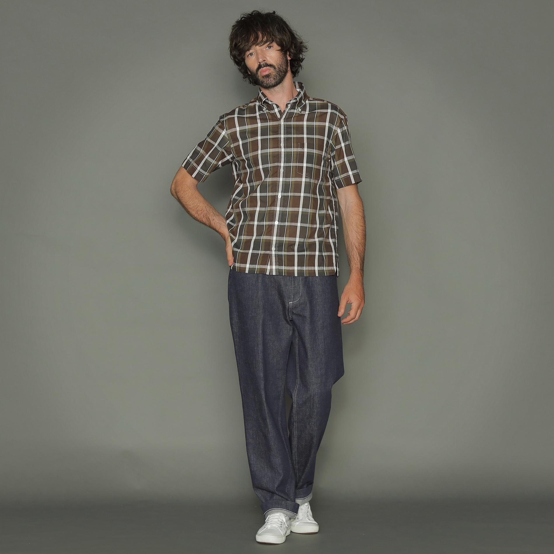 【ALBIATE】ダークマドラスチェック半袖ボタンダウンシャツ