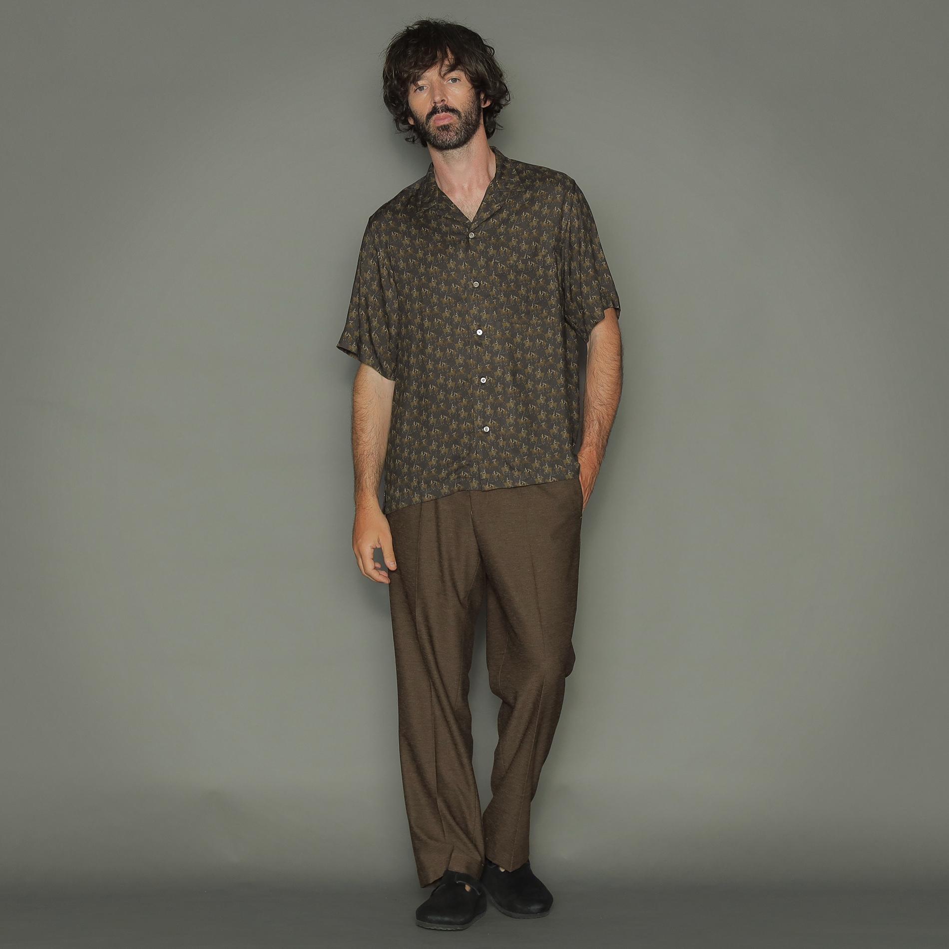 ヴィンテージ柄プリント半袖オープンカラーシャツ