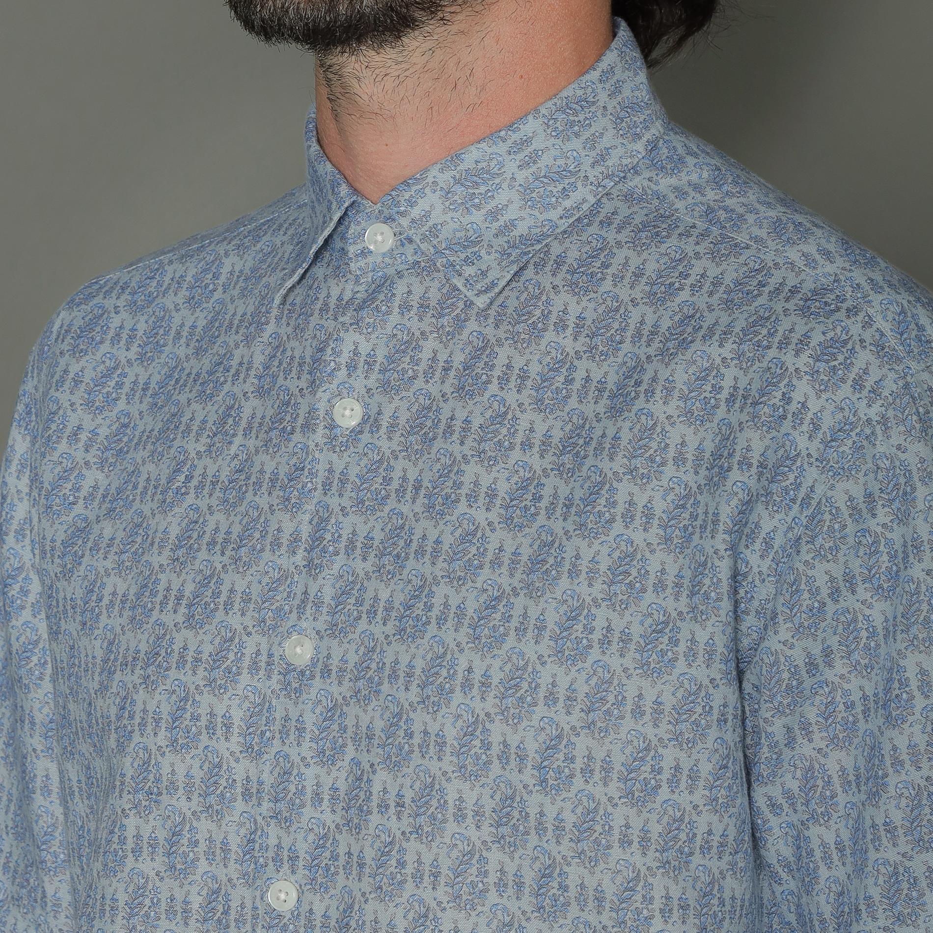 ◆◆レギュラーカラー半袖フラワープリントシャツ