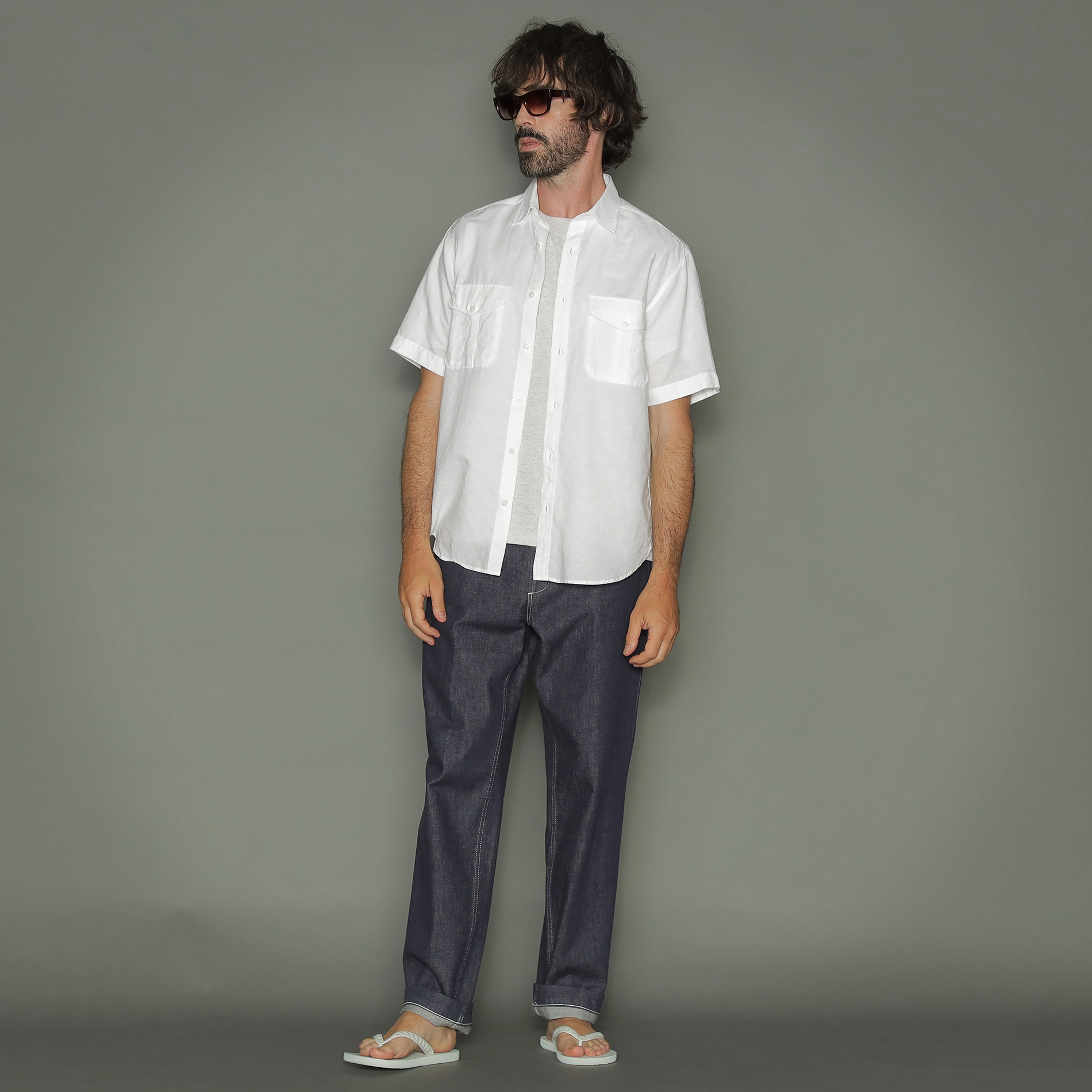 綿麻半袖サファリシャツ