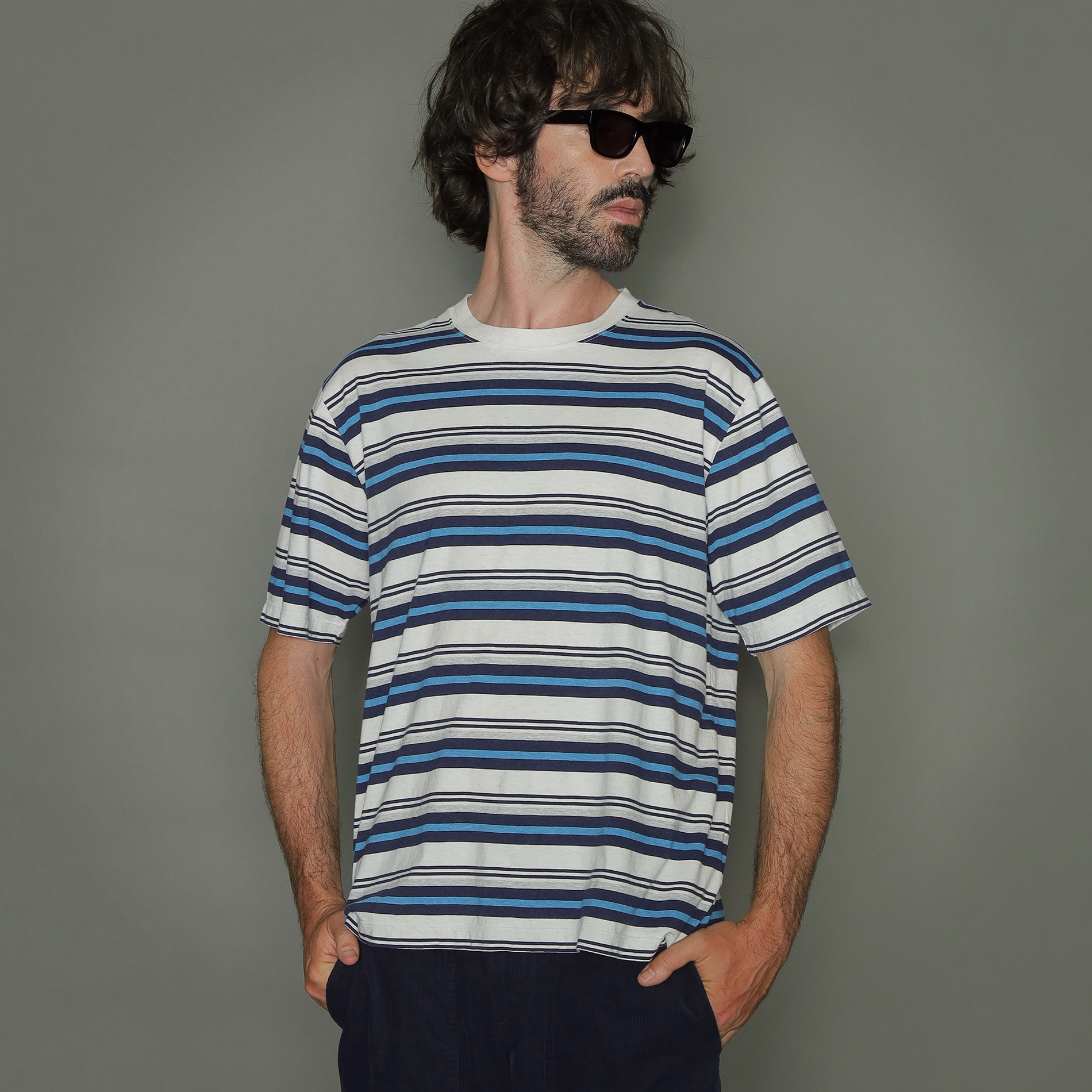 先染めマルチボーダーTシャツ