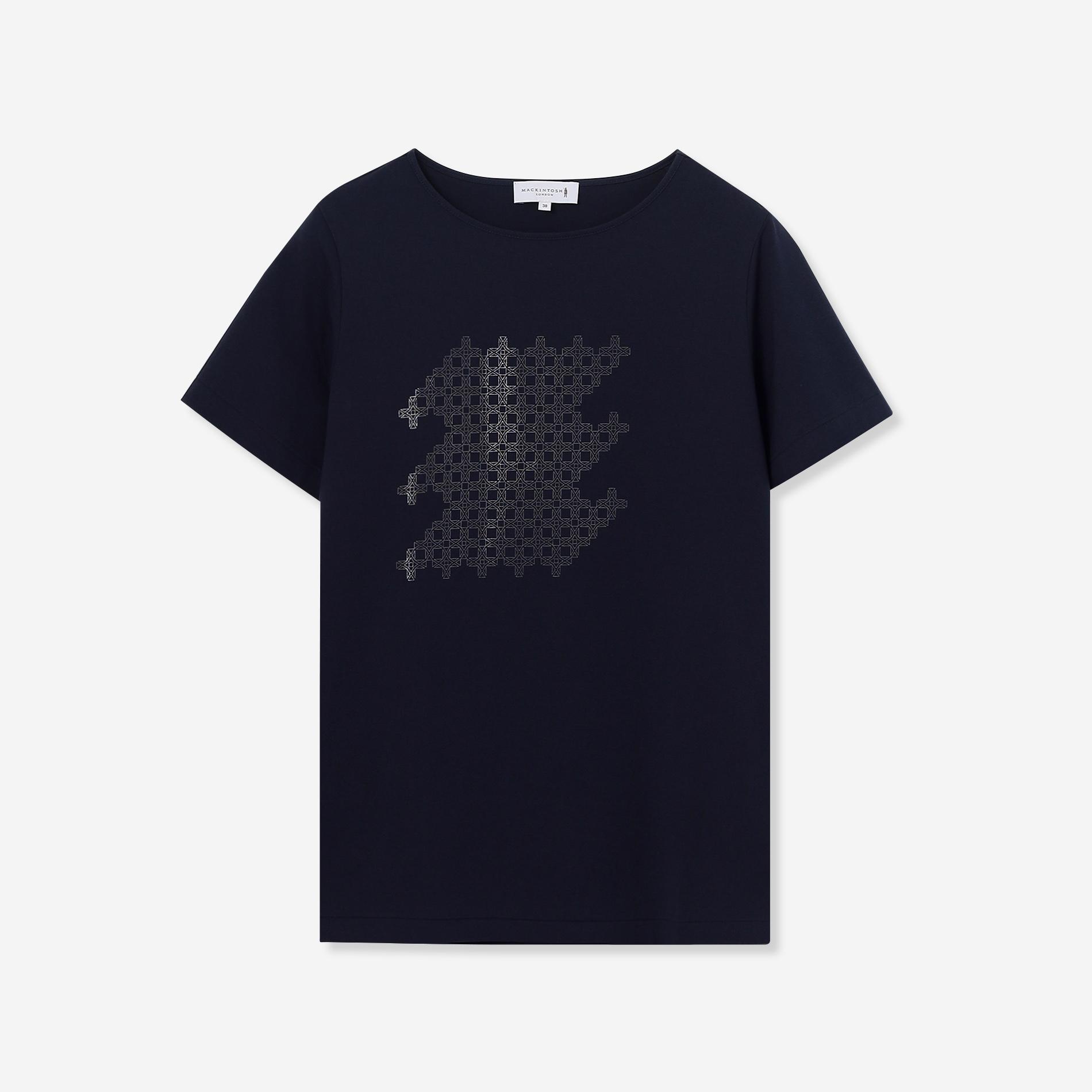 フォイルドットアンドリュープリントTシャツ