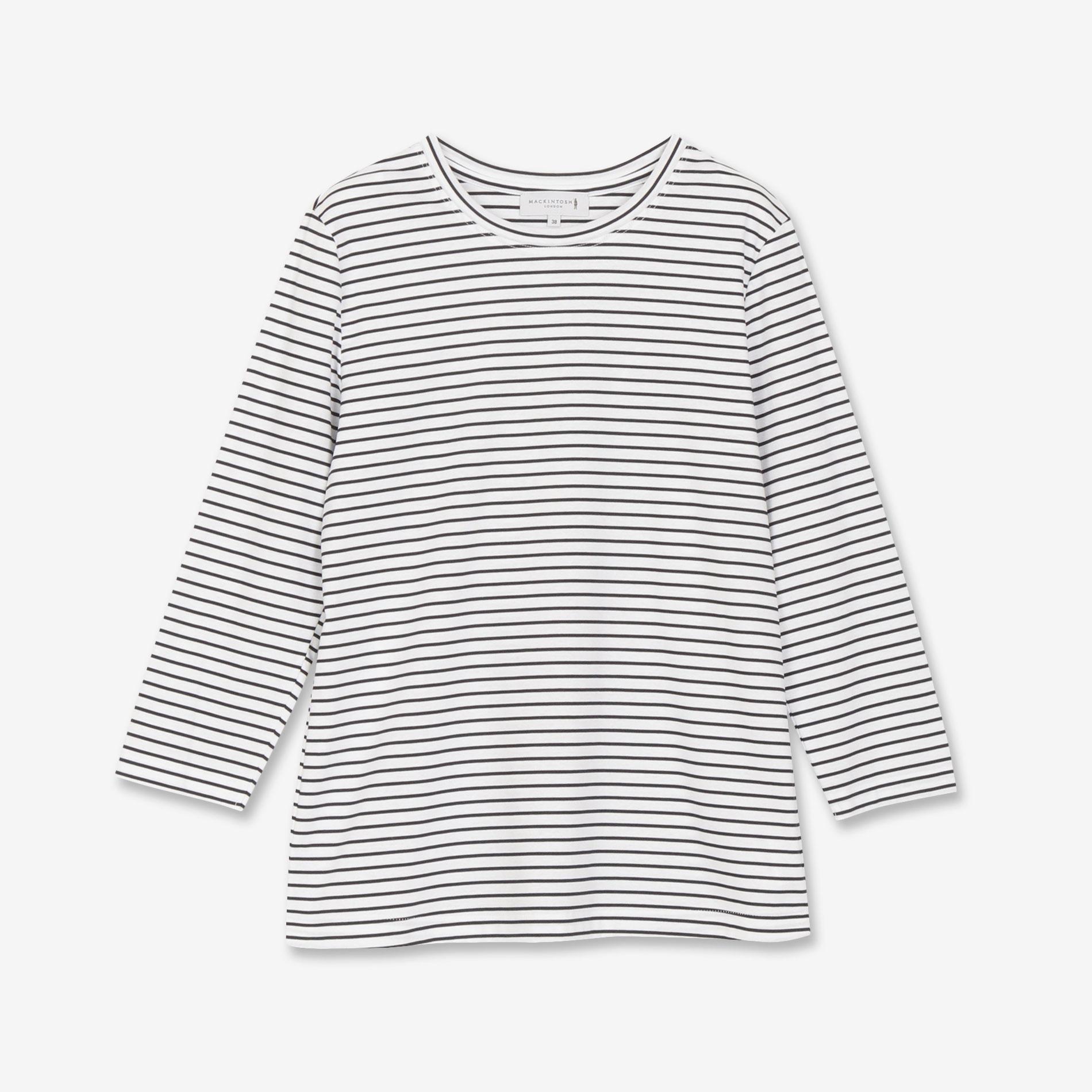 スーピマコットンボーダー7分袖Tシャツ
