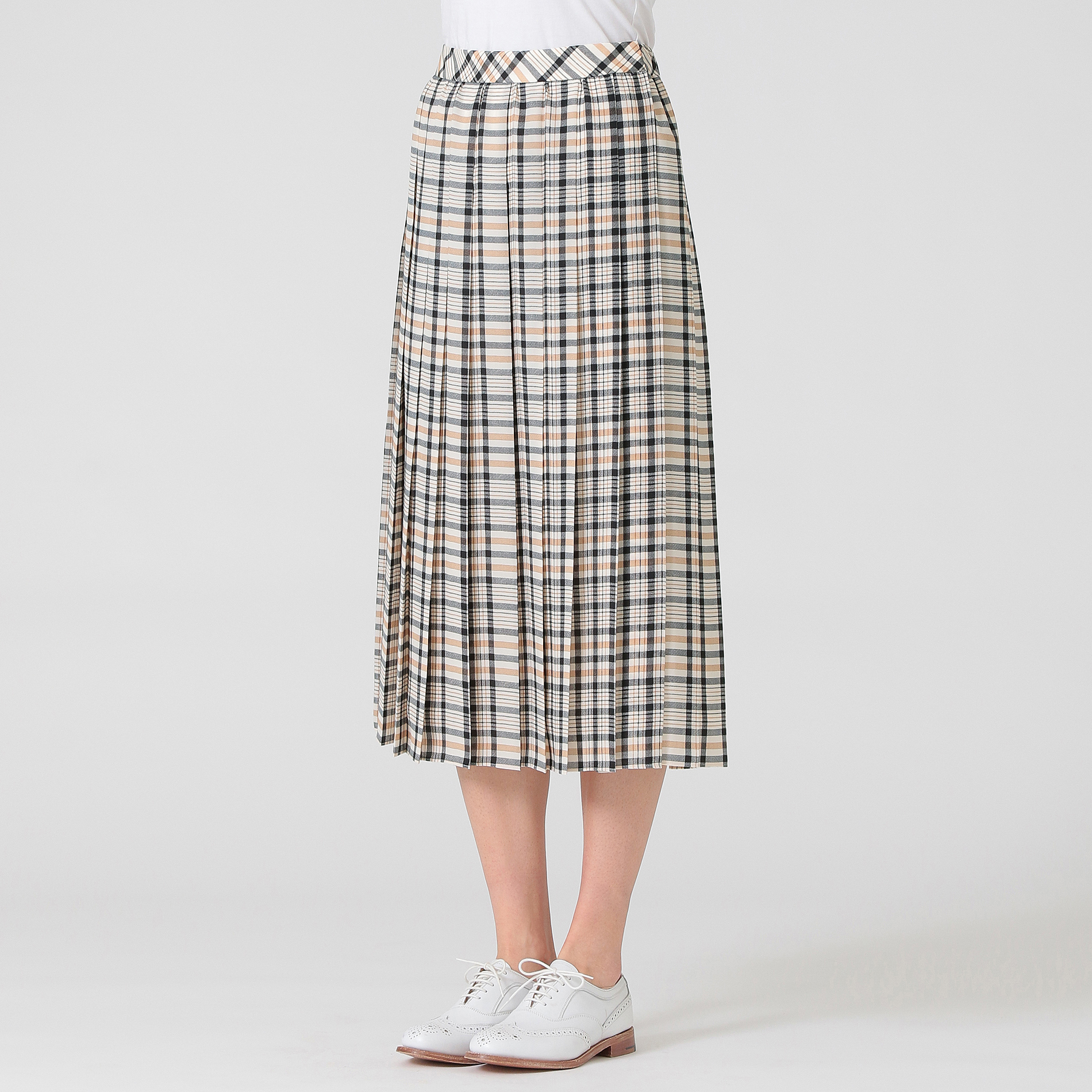 チェックプリントツイルスカート
