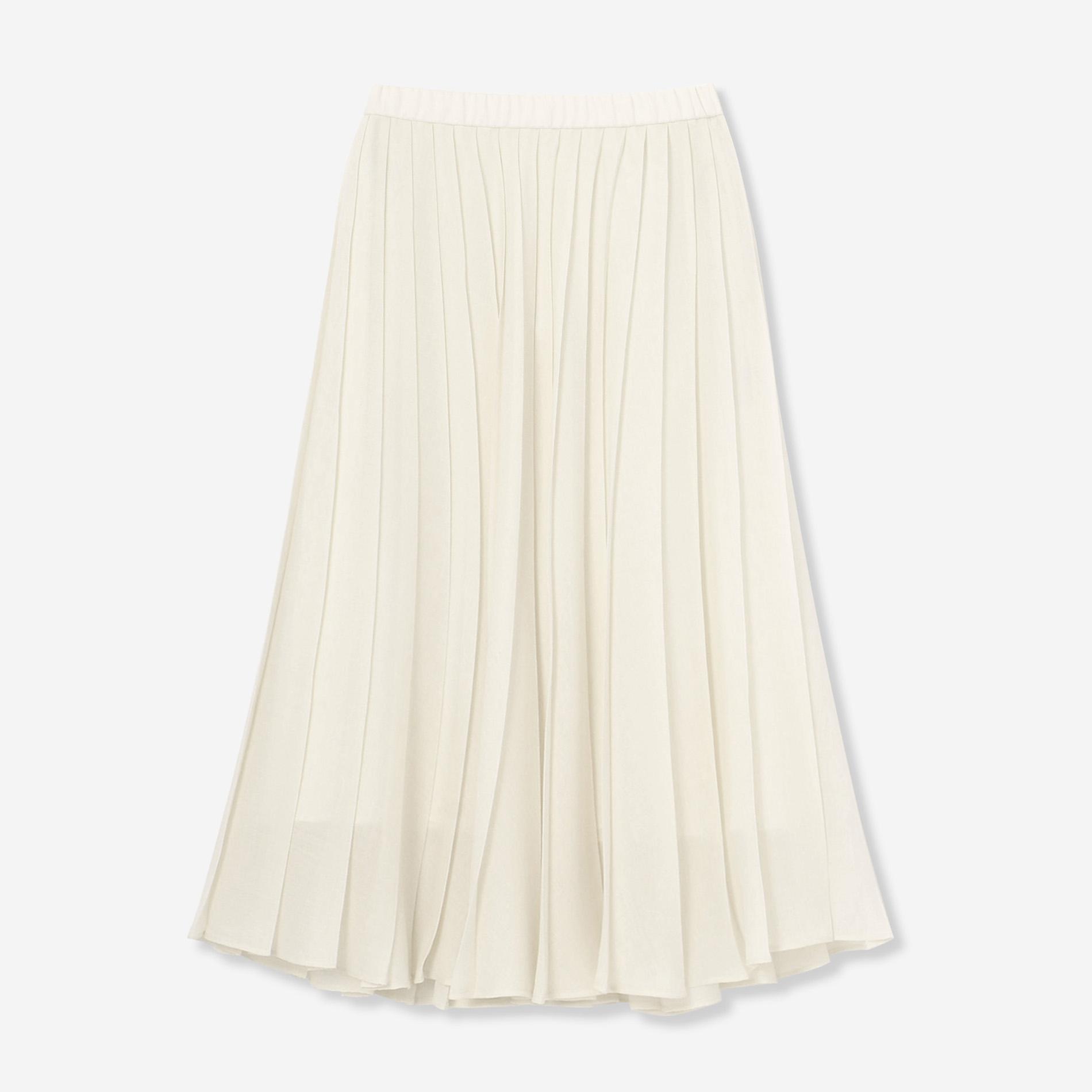 ウールポリエステルツイルプリーツスカート